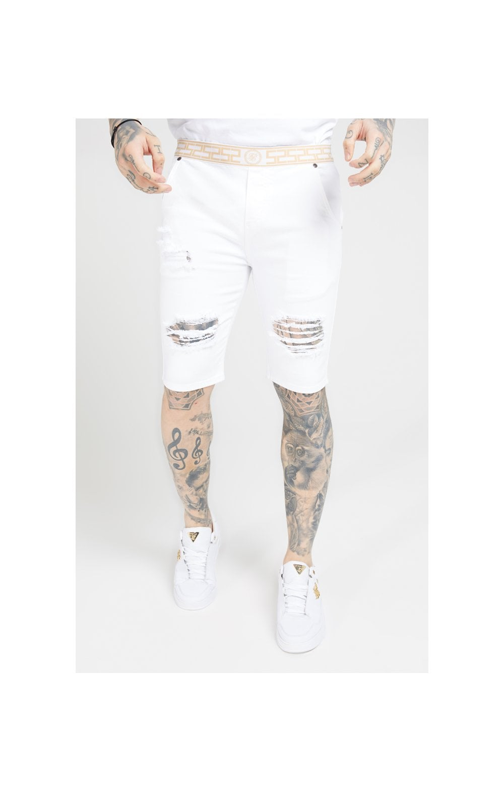 SikSilk Elasticated Waist Distressed Denim Shorts – White (1)