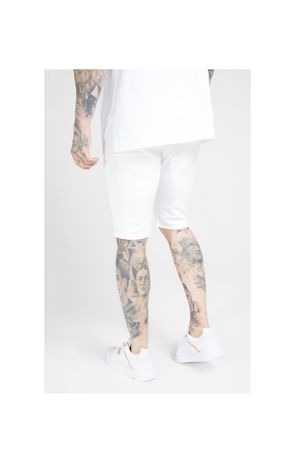 SikSilk Elasticated Waist Distressed Denim Shorts – White (2)