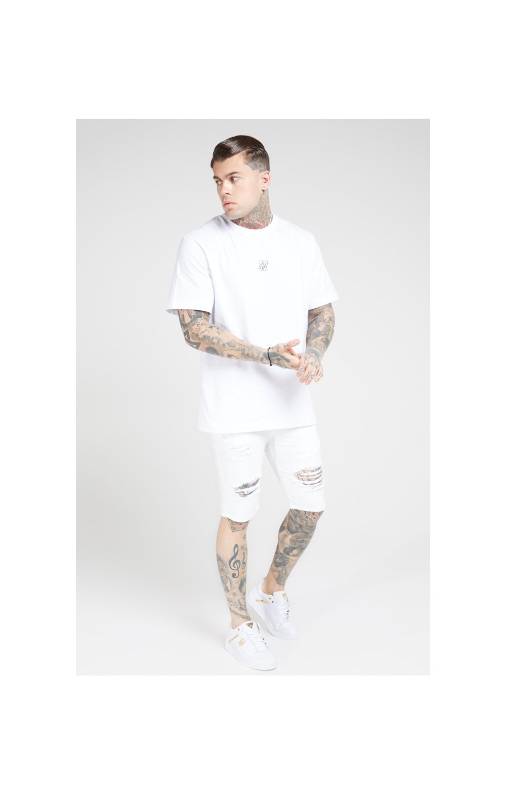 SikSilk Elasticated Waist Distressed Denim Shorts – White (3)