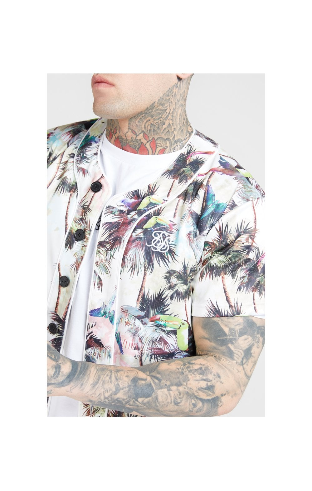 SikSilk Original Baseball Jersey – Beige & Black (1)