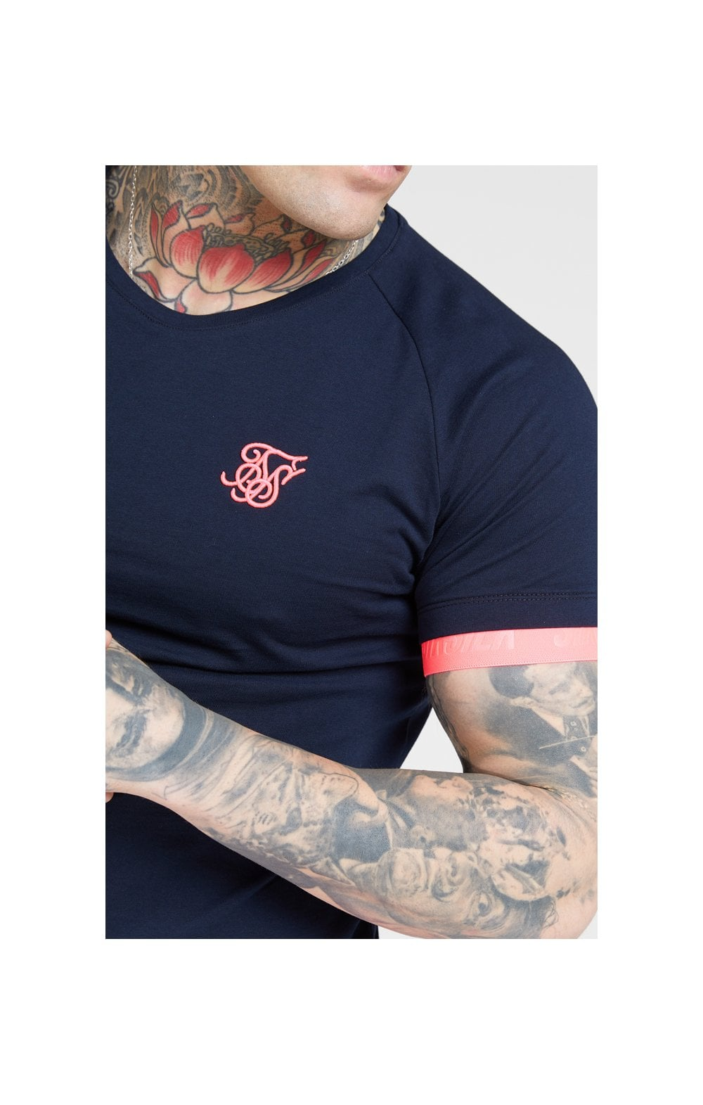 Load image into Gallery viewer, SikSilk S/S Neon Tech Tee – Navy & Neon Pink (1)
