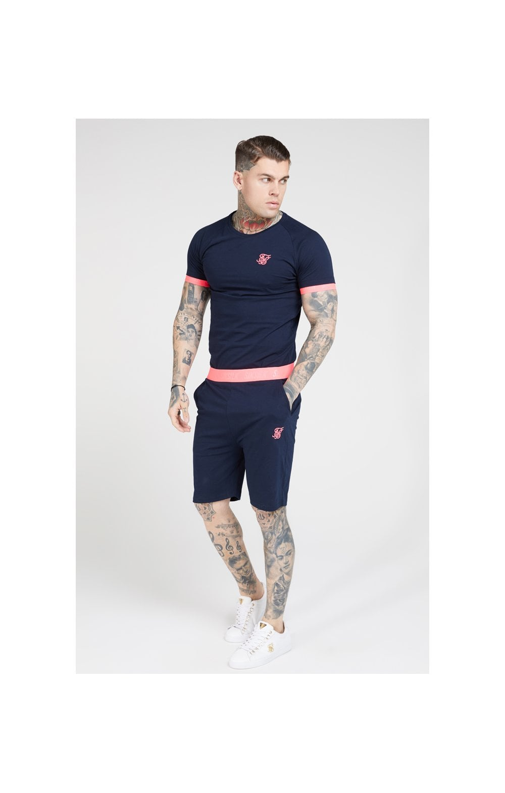 Load image into Gallery viewer, SikSilk S/S Neon Tech Tee – Navy & Neon Pink (2)