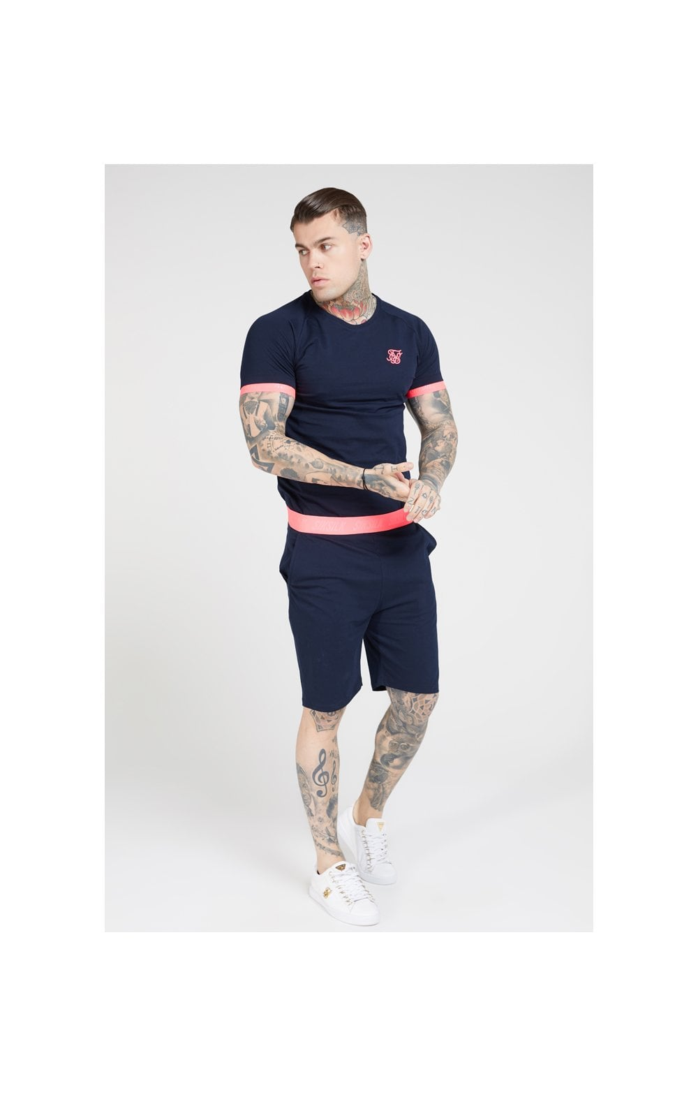 Load image into Gallery viewer, SikSilk S/S Neon Tech Tee – Navy & Neon Pink (3)