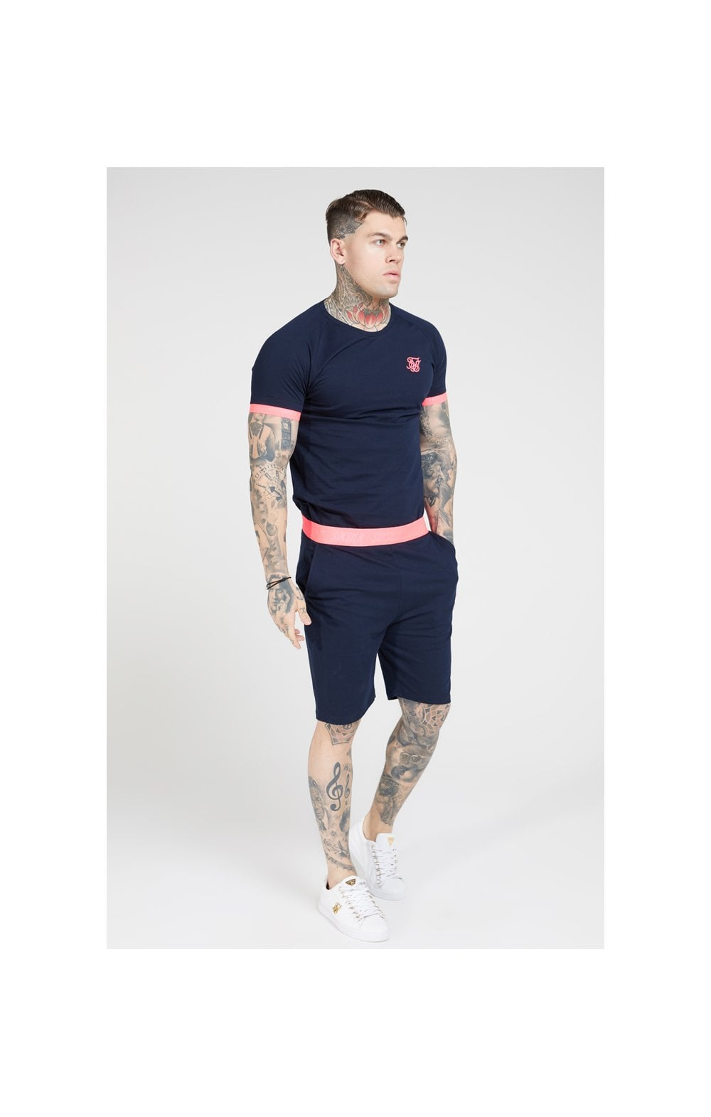 Load image into Gallery viewer, SikSilk S/S Neon Tech Tee – Navy & Neon Pink (4)