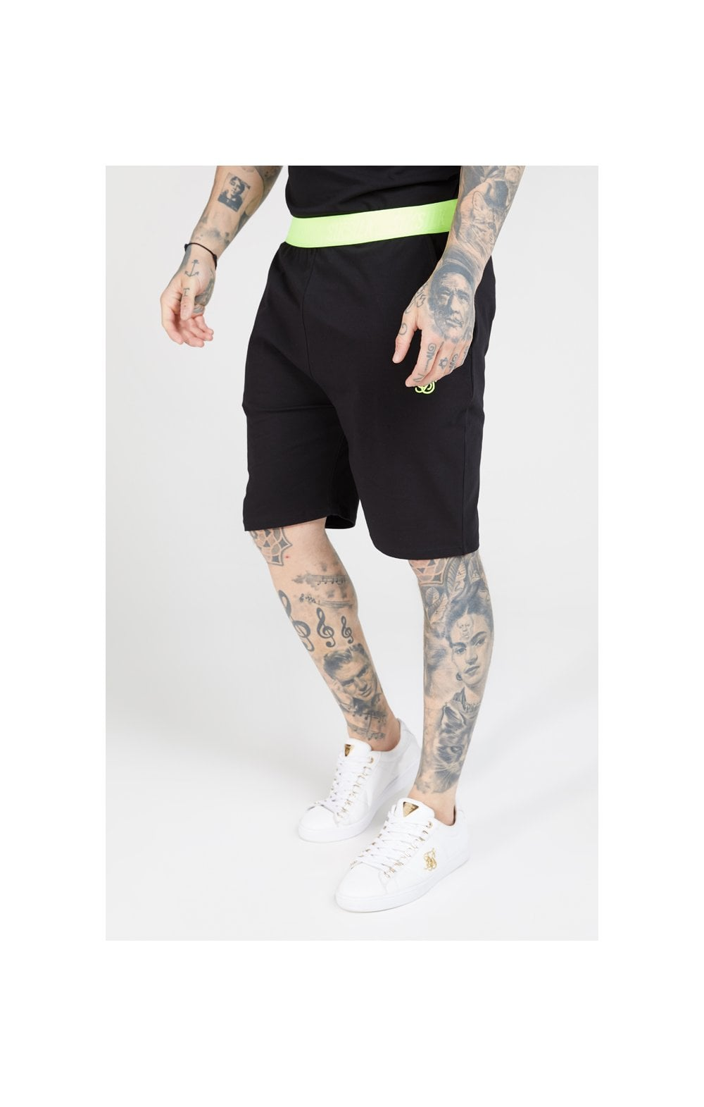 SikSilk Relaxed Fit Shorts - Black & Neon Yellow MEN SIZES BOTTOM: Extra Small 28in