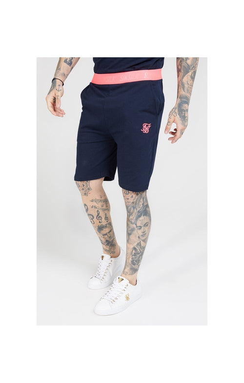 SikSilk Relaxed Fit Shorts –  Navy & Neon Pink
