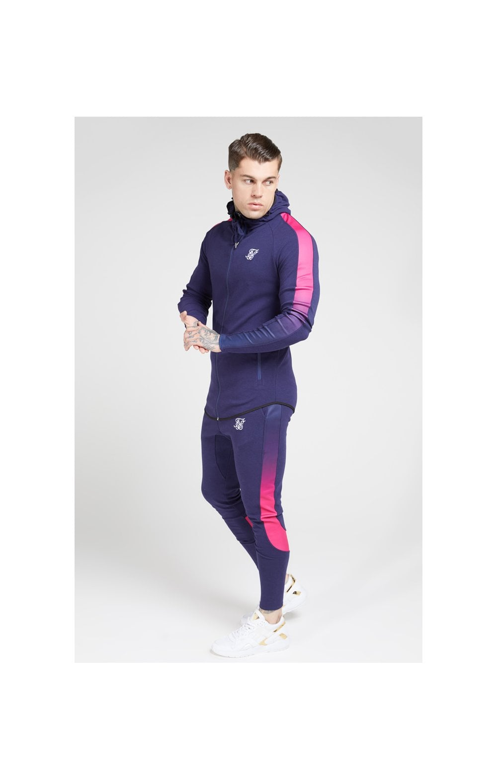 SikSilk Athlete Tech Fade Track Pants – Navy & Neon Fade (5)