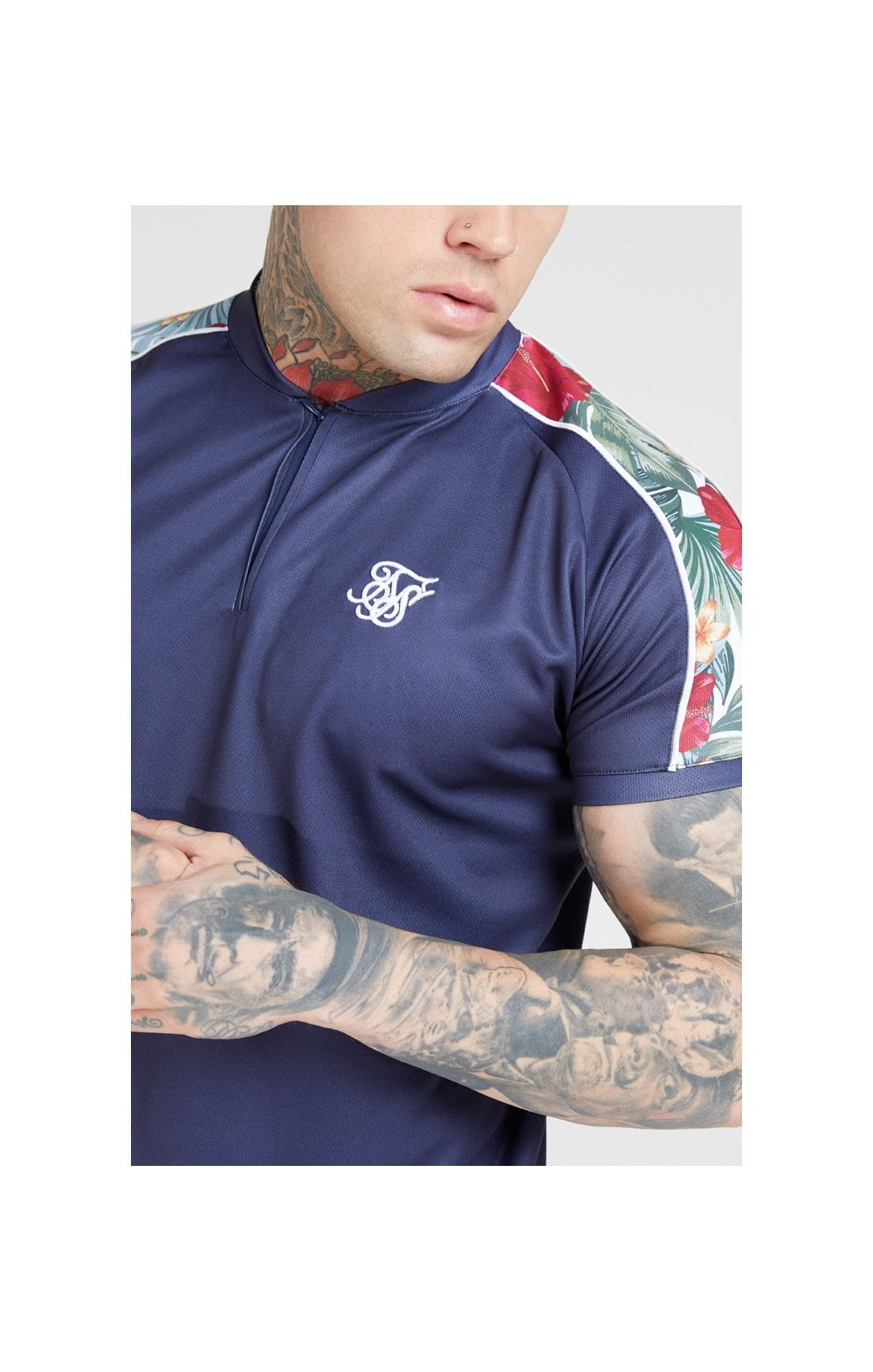 SikSilk S/S Baseball Tee – Navy