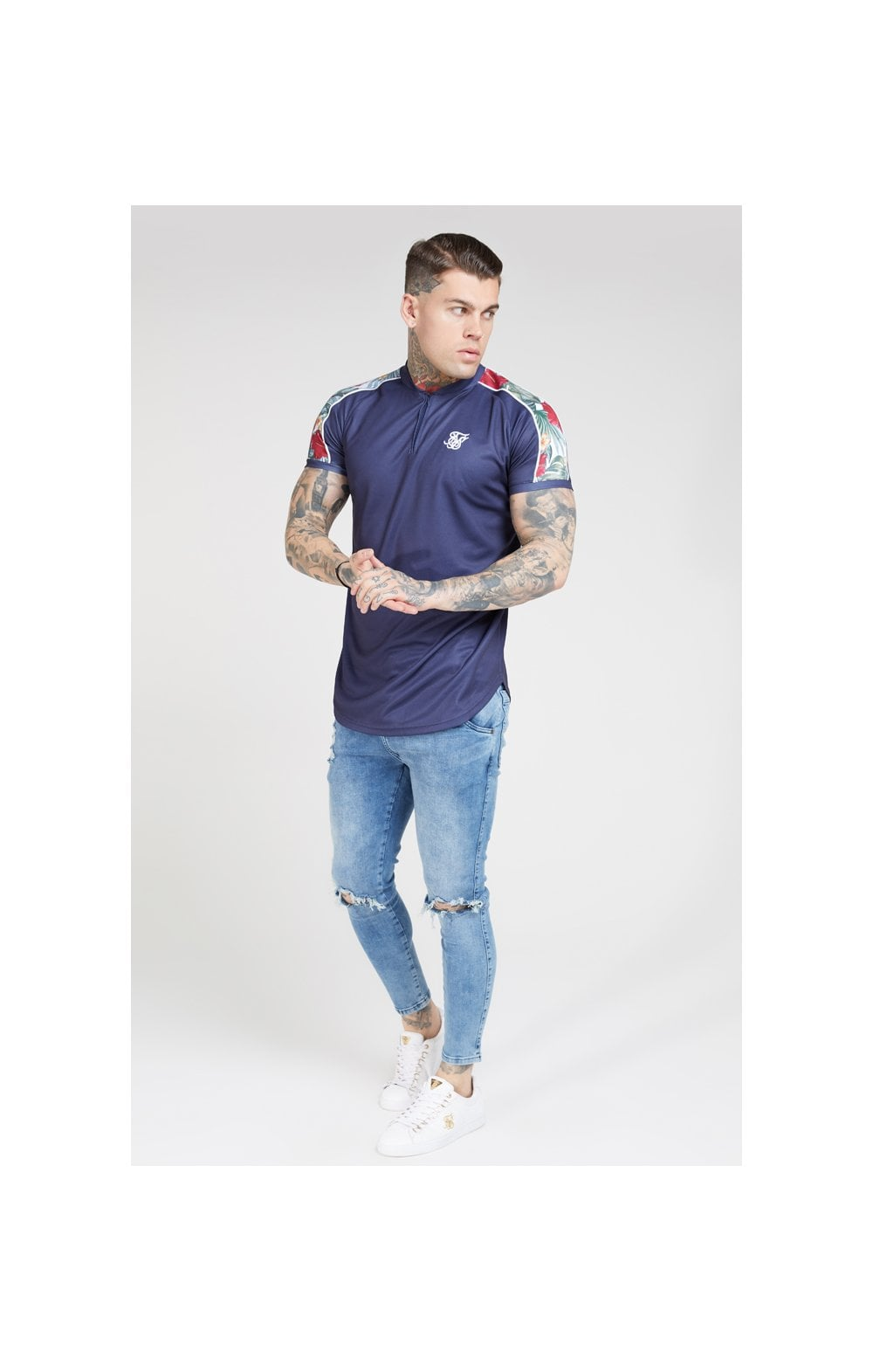 SikSilk S/S Baseball Tee – Navy (3)