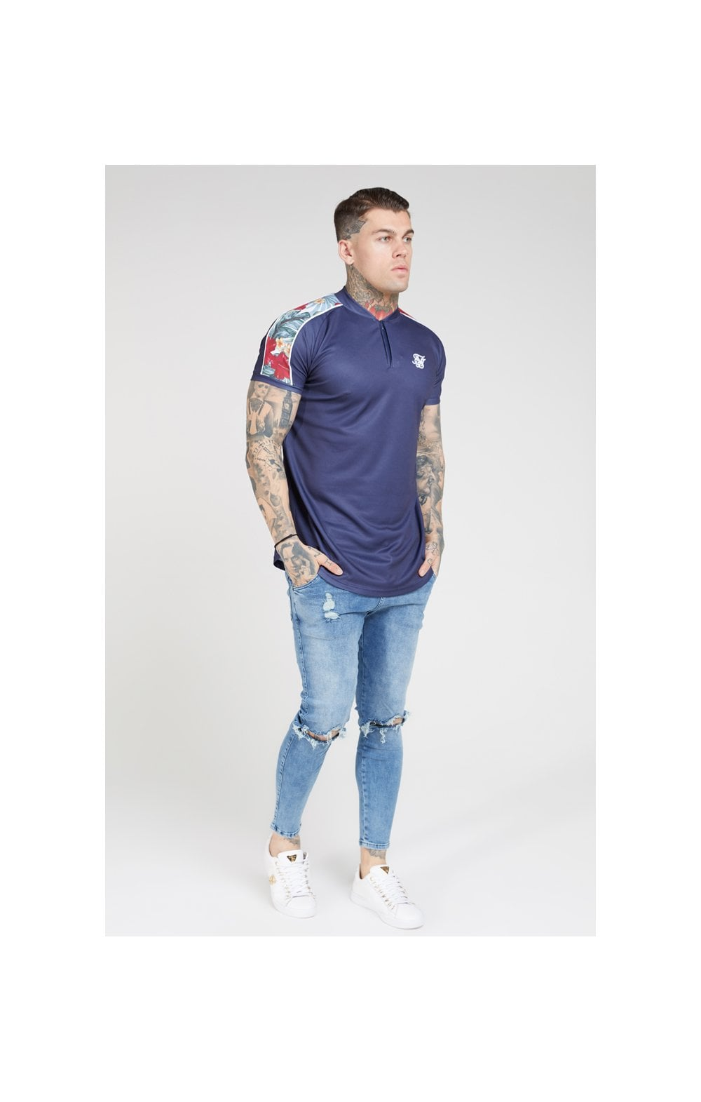 SikSilk S/S Baseball Tee – Navy (4)