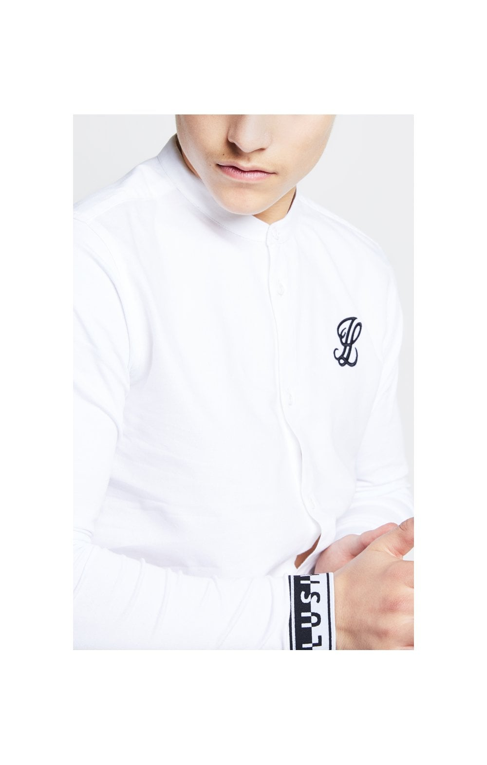 Illusive London Taped L/S Grandad Collar Shirt – White