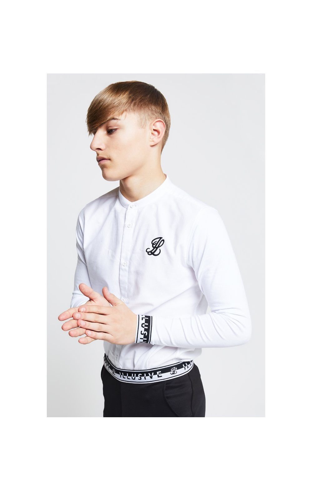 Load image into Gallery viewer, Illusive London Taped L/S Grandad Collar Shirt – White (1)