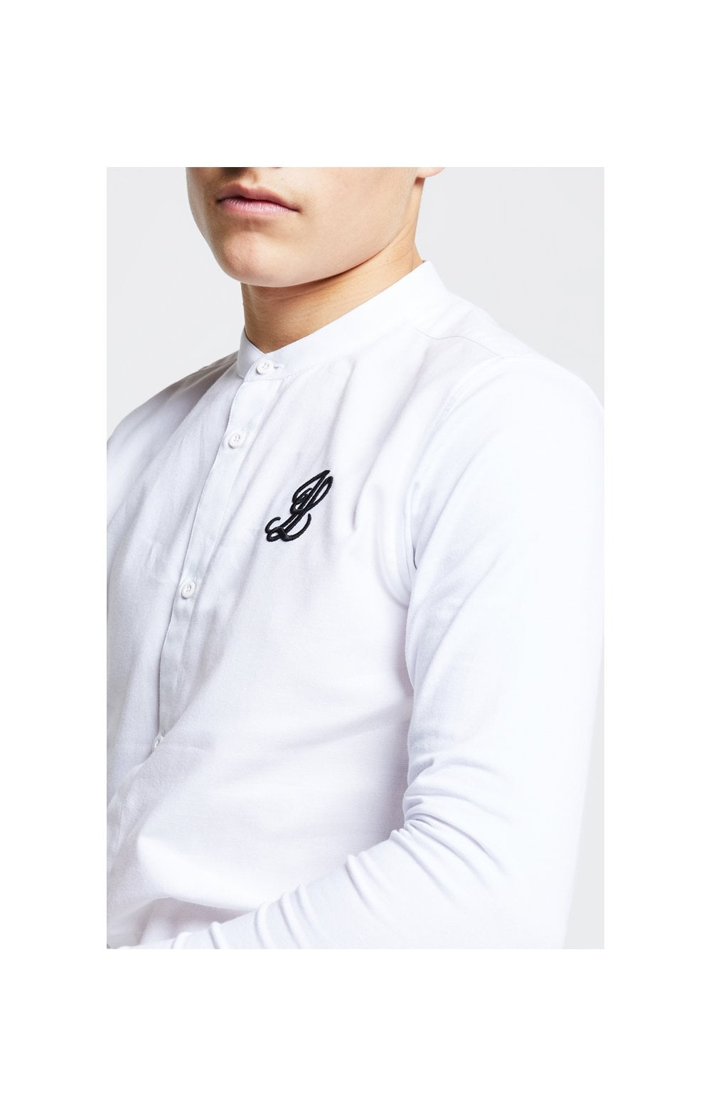 Load image into Gallery viewer, Illusive London Taped L/S Grandad Collar Shirt – White (6)