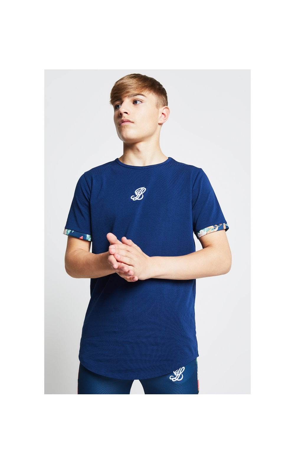 Illusive London Contrast Cuff Tee – Teal & Tropical Leaf