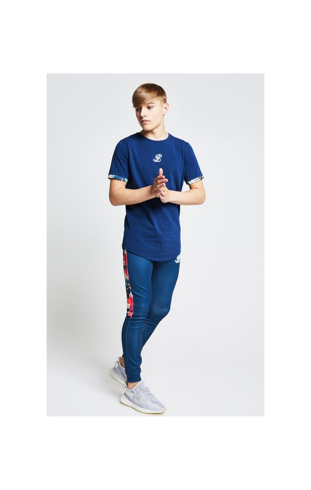 Illusive London Contrast Cuff Tee – Teal & Tropical Leaf (3)