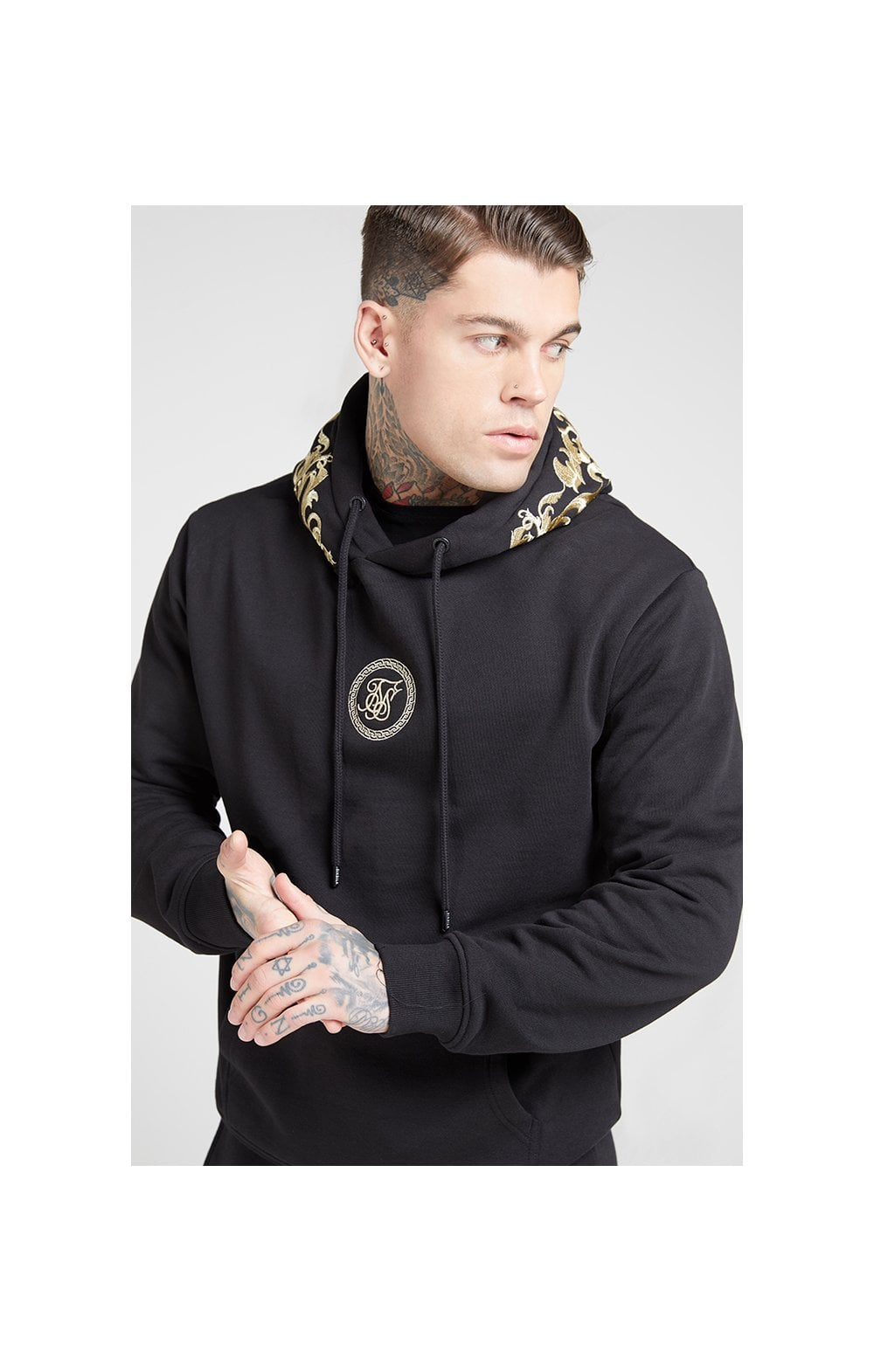 Load image into Gallery viewer, SikSilk Overhead Hoodie – Jet Black & Gold (1)