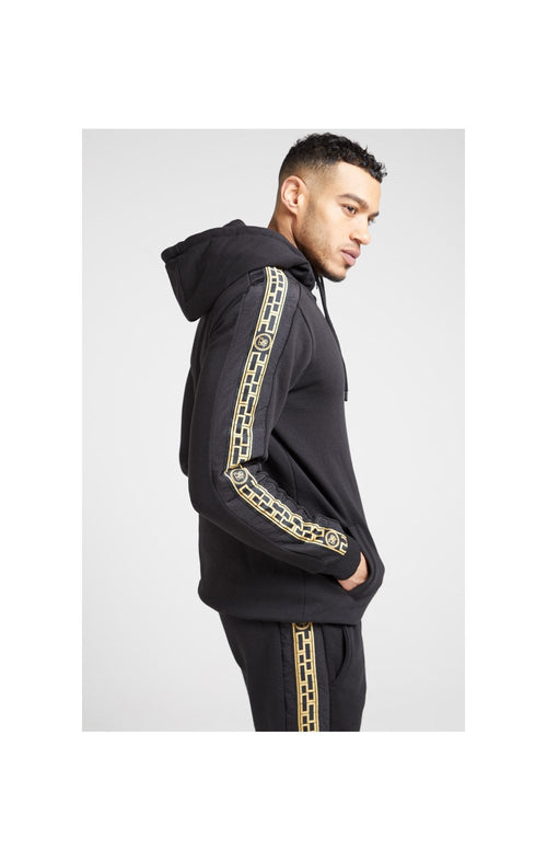 SikSilk Nylon Panel Zip Through Hoodie – Black & Gold