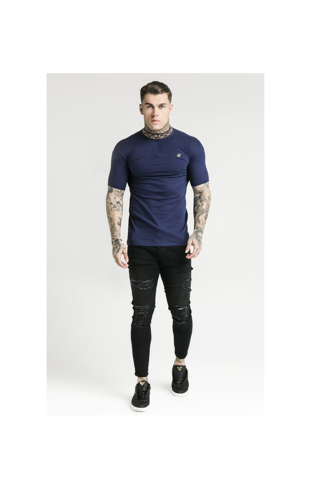 SikSilk S/S Chain Rib Collar Polo – Navy (2)