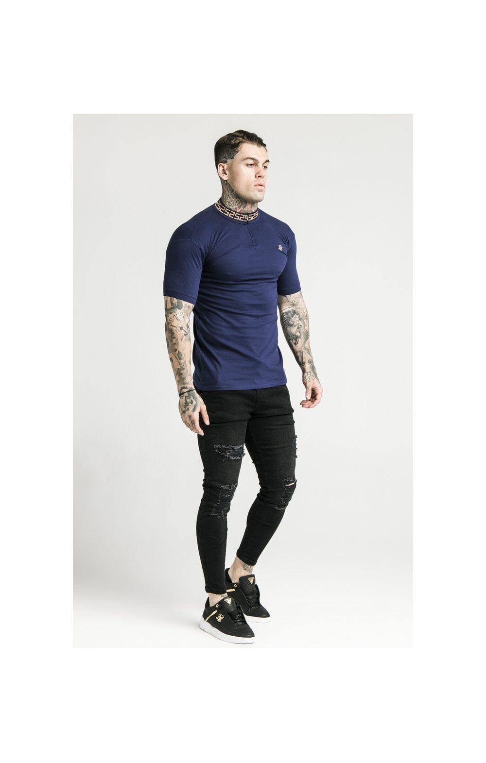 SikSilk S/S Chain Rib Collar Polo – Navy (3)