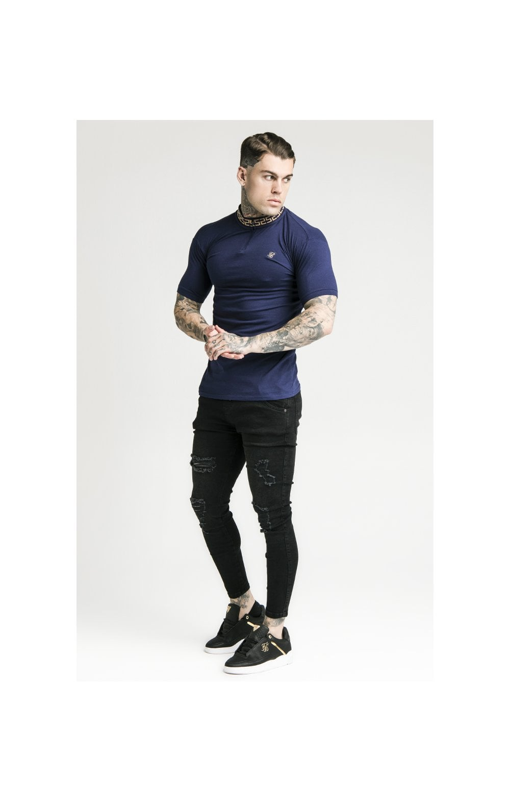 SikSilk S/S Chain Rib Collar Polo – Navy (4)