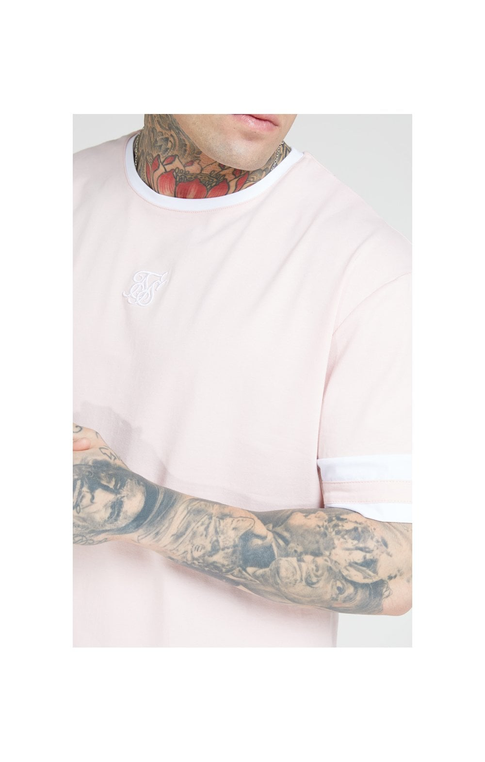 SikSilk S/S Essential Oversized Ringer Tee – Cloudy Pink (1)