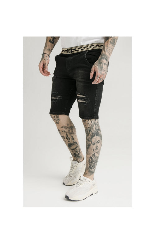 SikSilk Elasticated Waist Distressed Denim Shorts – Black