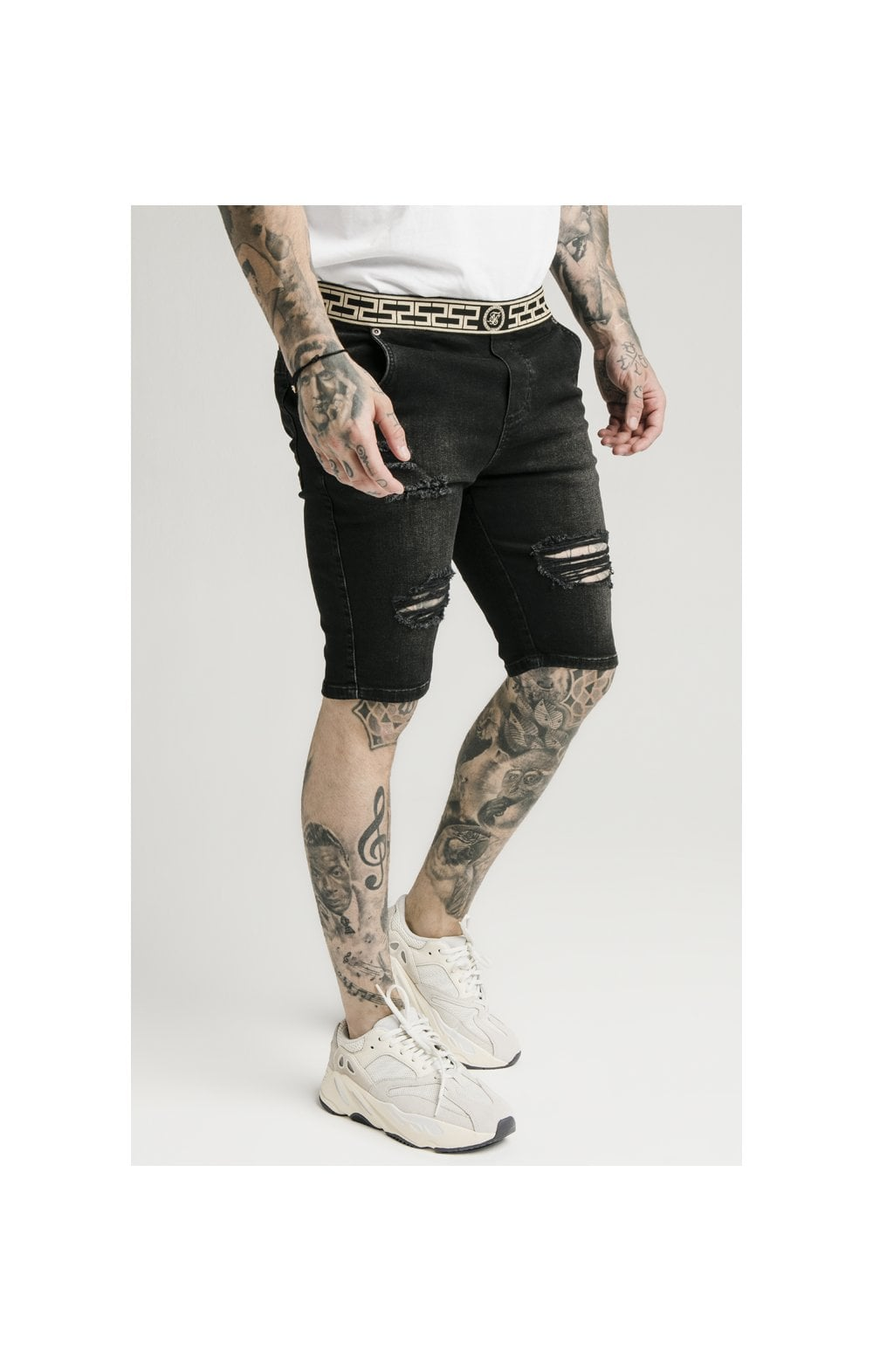 Load image into Gallery viewer, SikSilk Elasticated Waist Distressed Denim Shorts – Black (1)