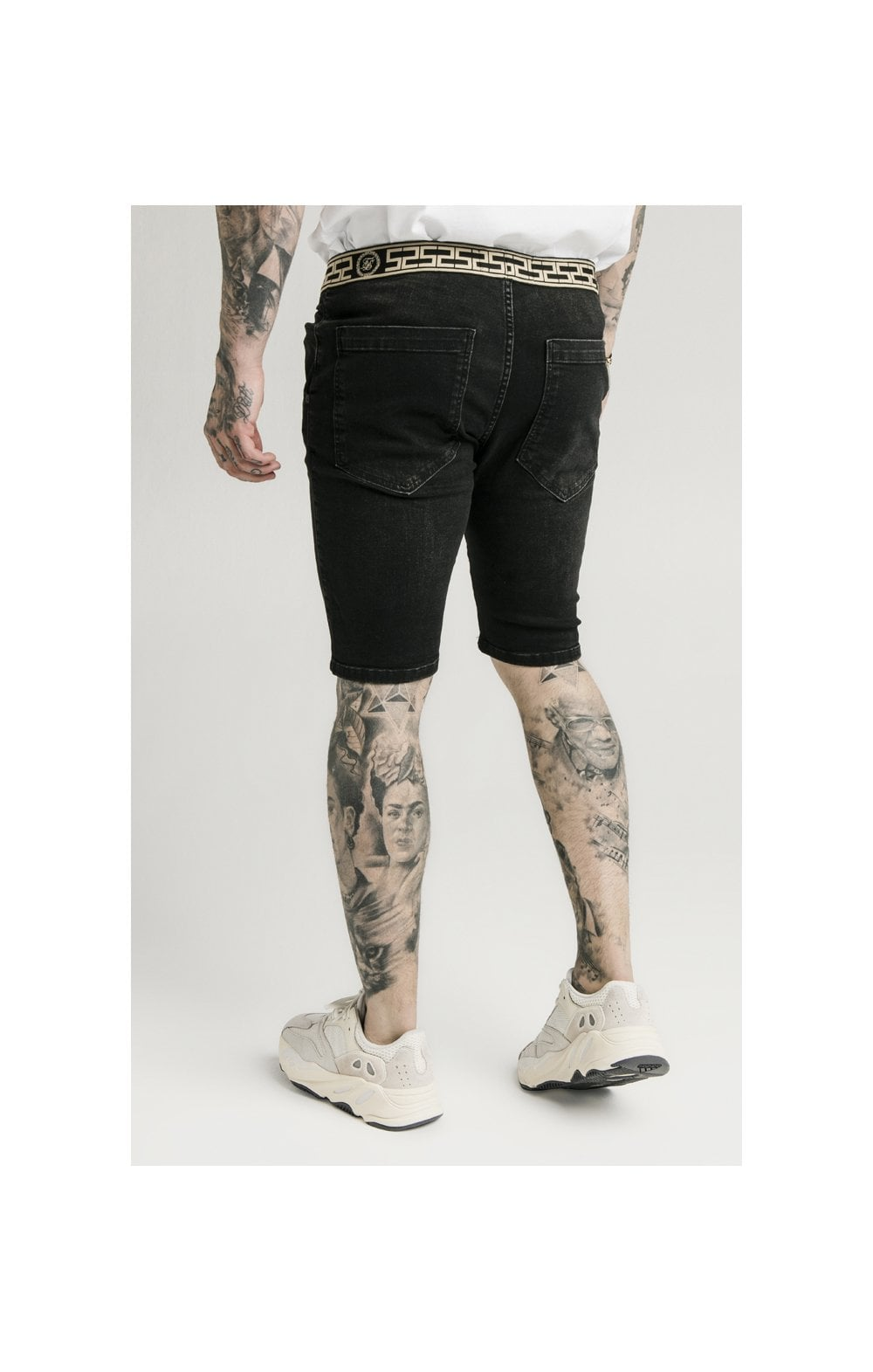 Load image into Gallery viewer, SikSilk Elasticated Waist Distressed Denim Shorts – Black (2)