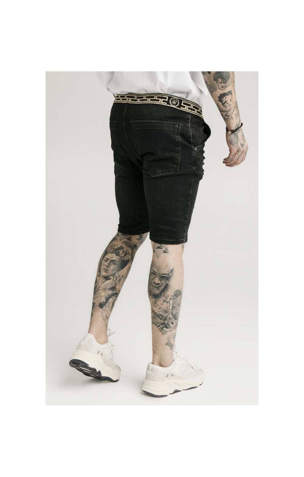 Load image into Gallery viewer, SikSilk Elasticated Waist Distressed Denim Shorts – Black (3)