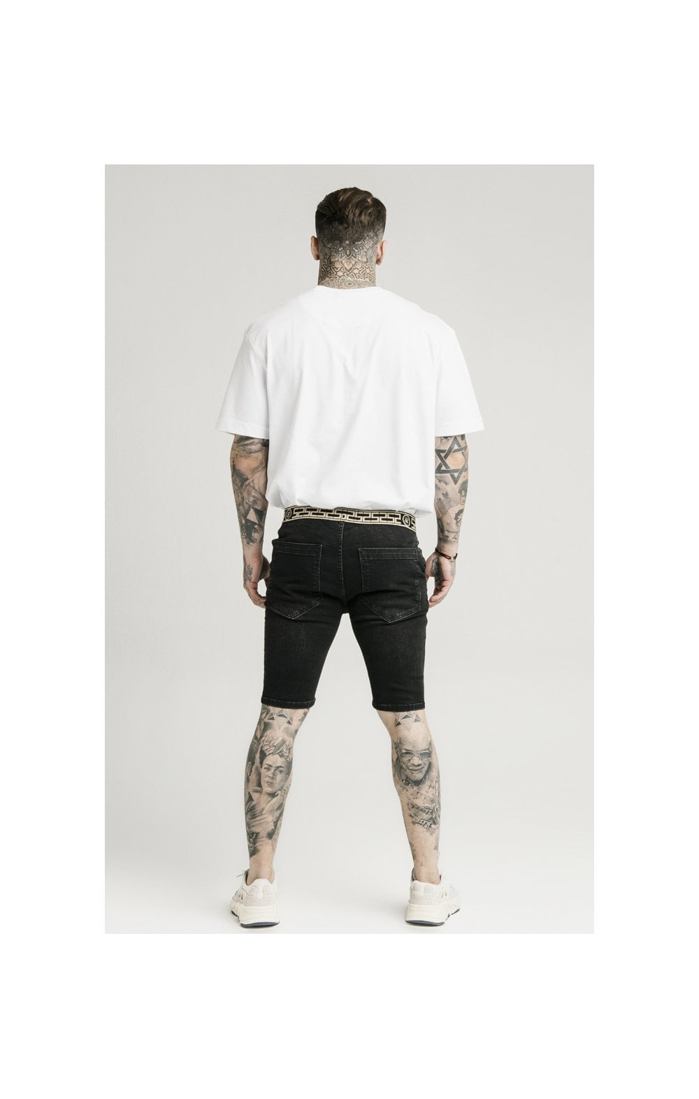 Load image into Gallery viewer, SikSilk Elasticated Waist Distressed Denim Shorts – Black (5)