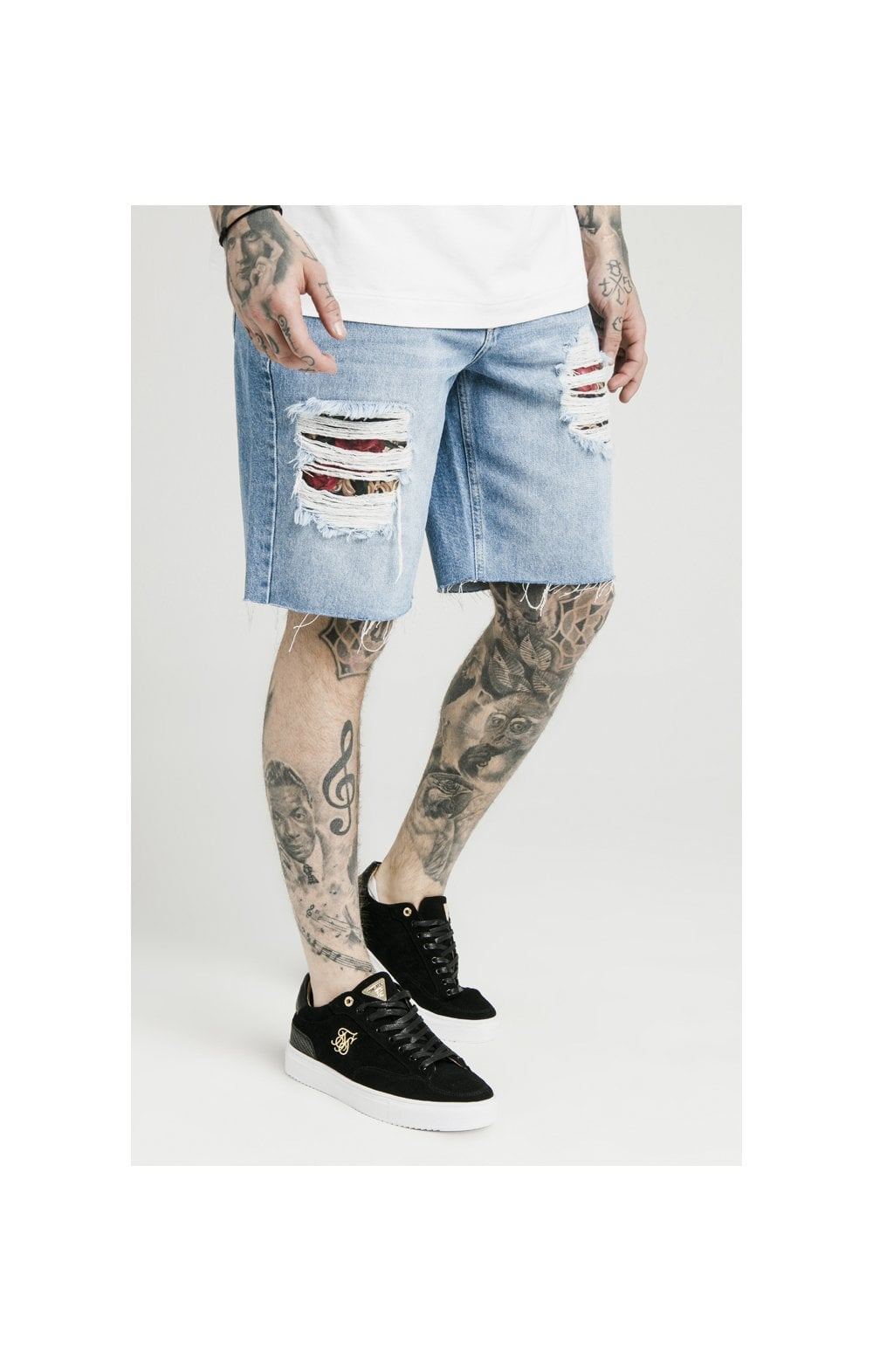 SikSilk Loose Fit Denim Shorts - Stonewash (1)