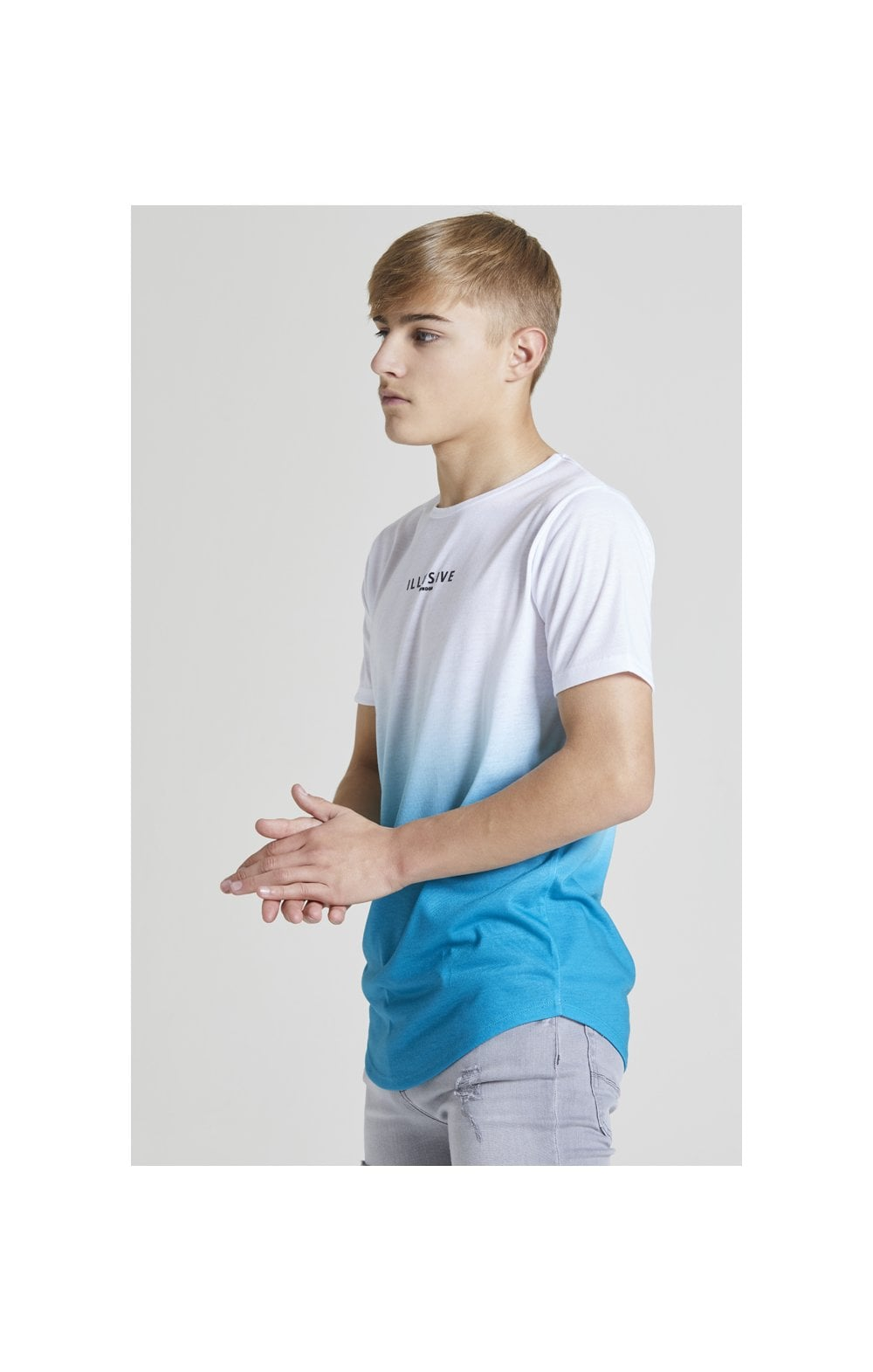 Illusive London Core Fade Tee – White & Teal Green (2)