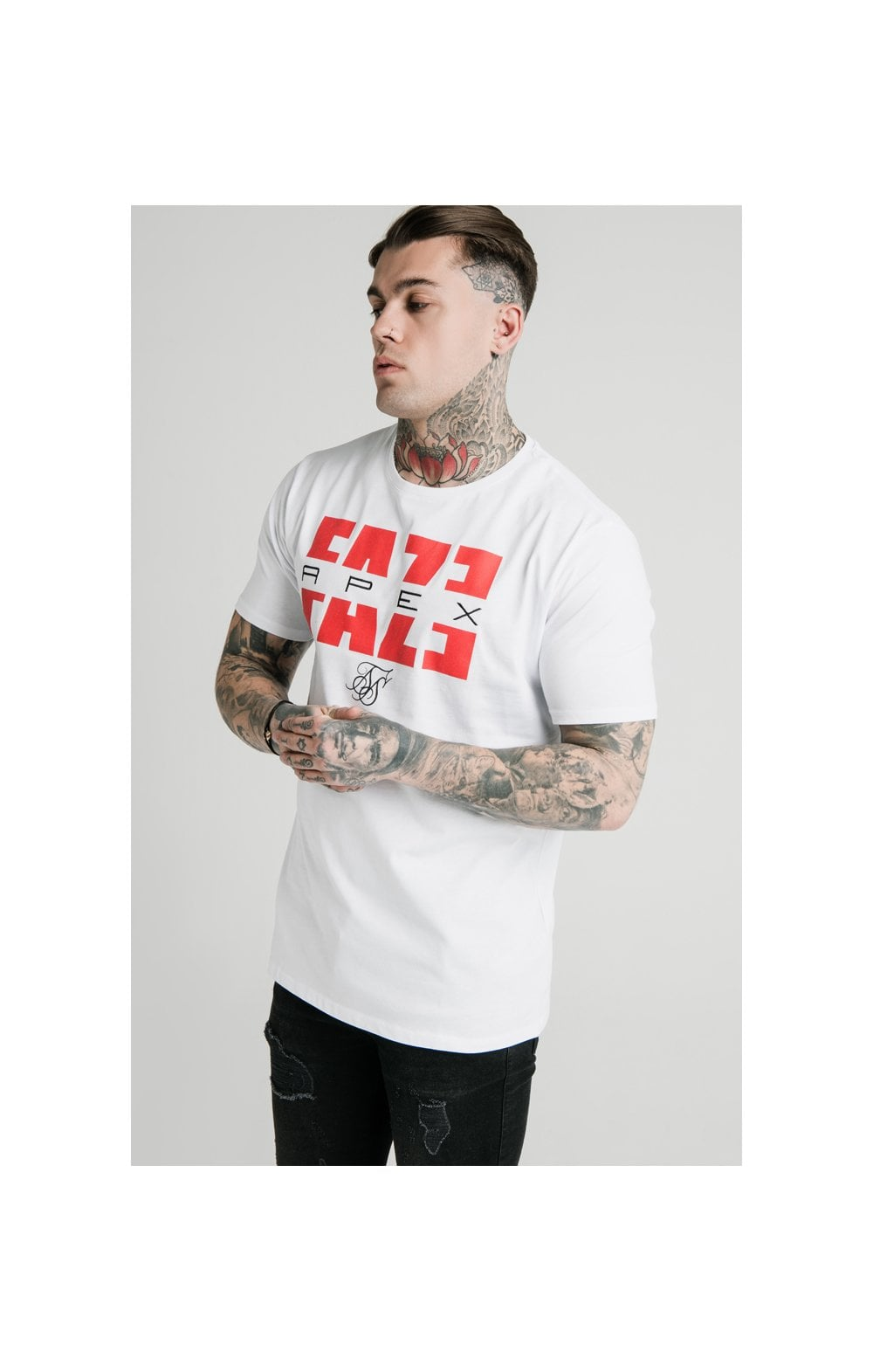 Load image into Gallery viewer, SikSilk x FaZe Apex Standard Square Hem Tee - White (2)