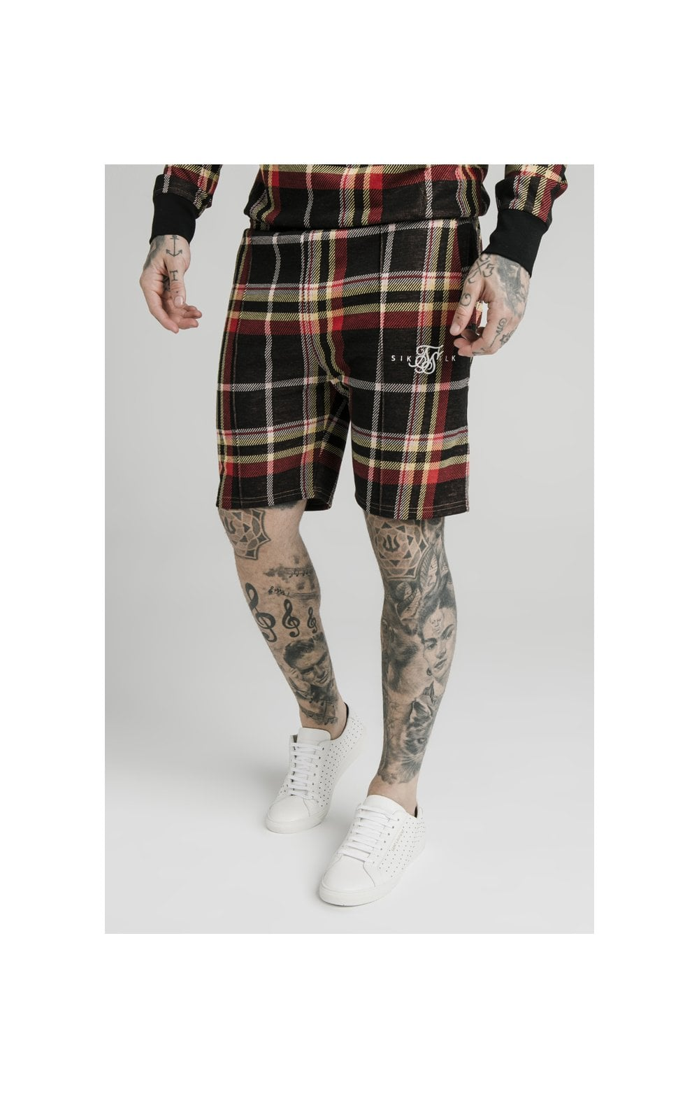 SikSilk Pleated Smart Shorts - Multi Grain Check MEN SIZES BOTTOM: Extra Small 28in