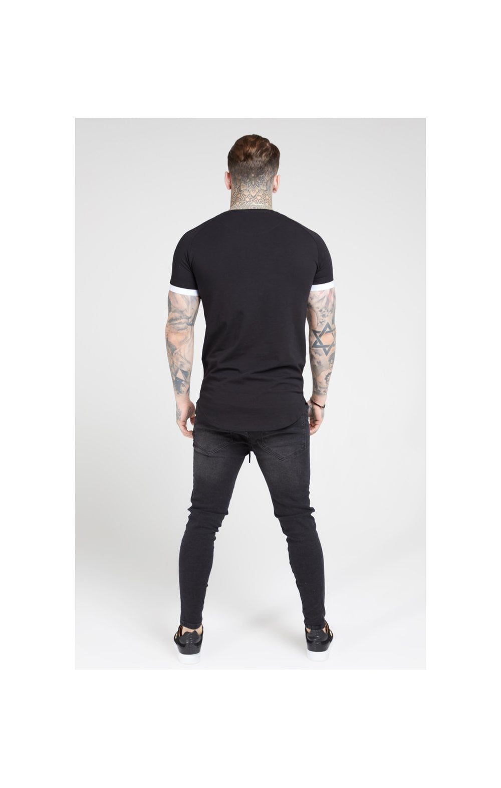 SikSilk S/S Inset Cuff Fade Panel Tech Tee – Black & Teal (4)