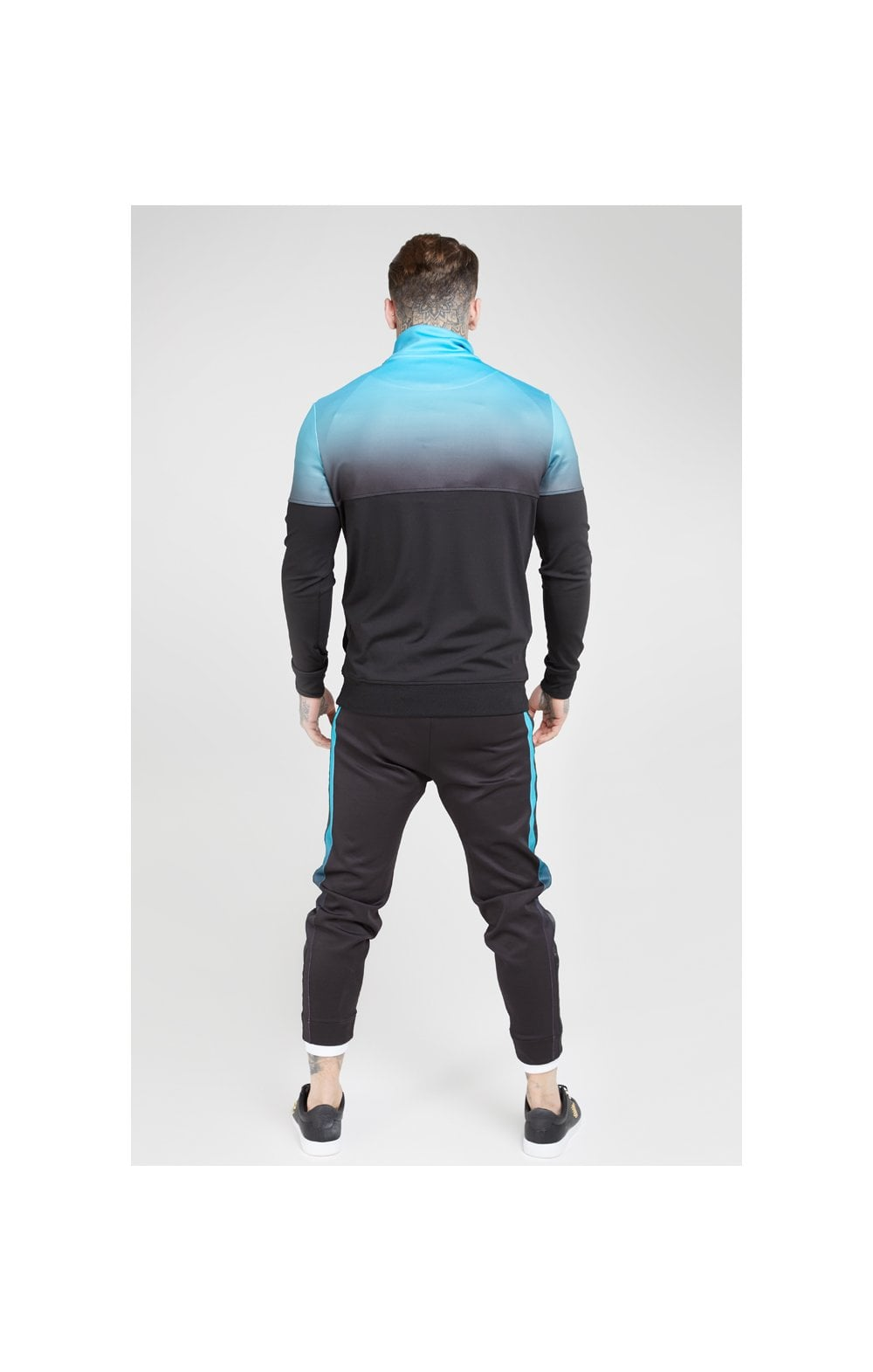 SikSilk Quarter Zip Hybrid Poly Fade Track Top - Black & Teal (5)