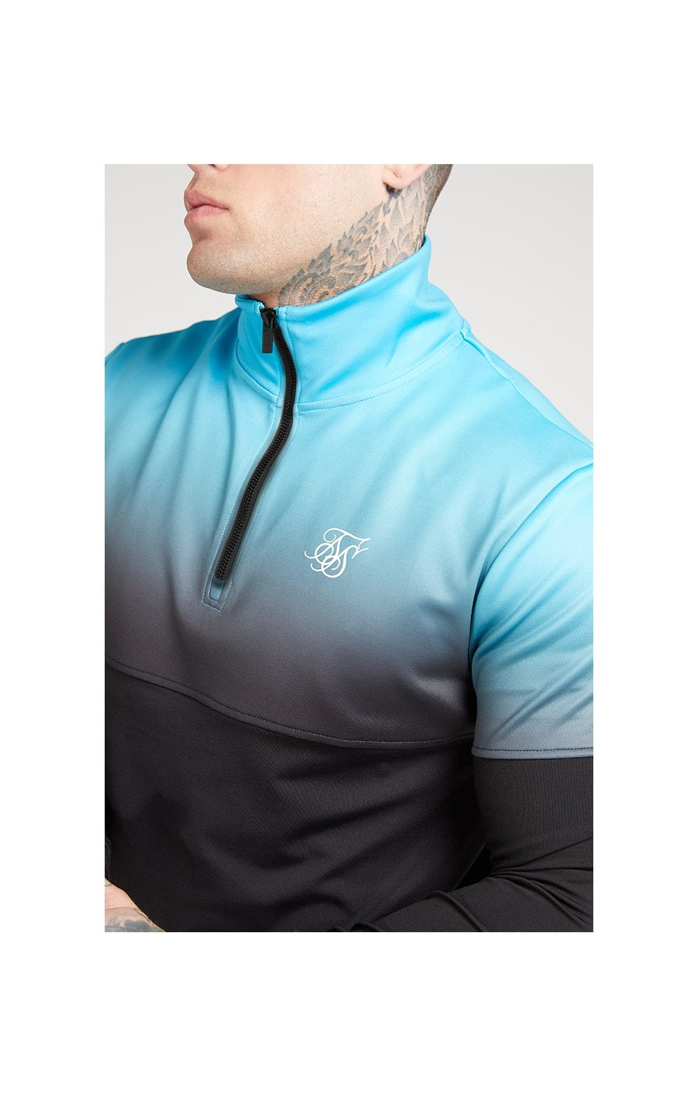 SikSilk Quarter Zip Hybrid Poly Fade Track Top - Black & Teal (1)
