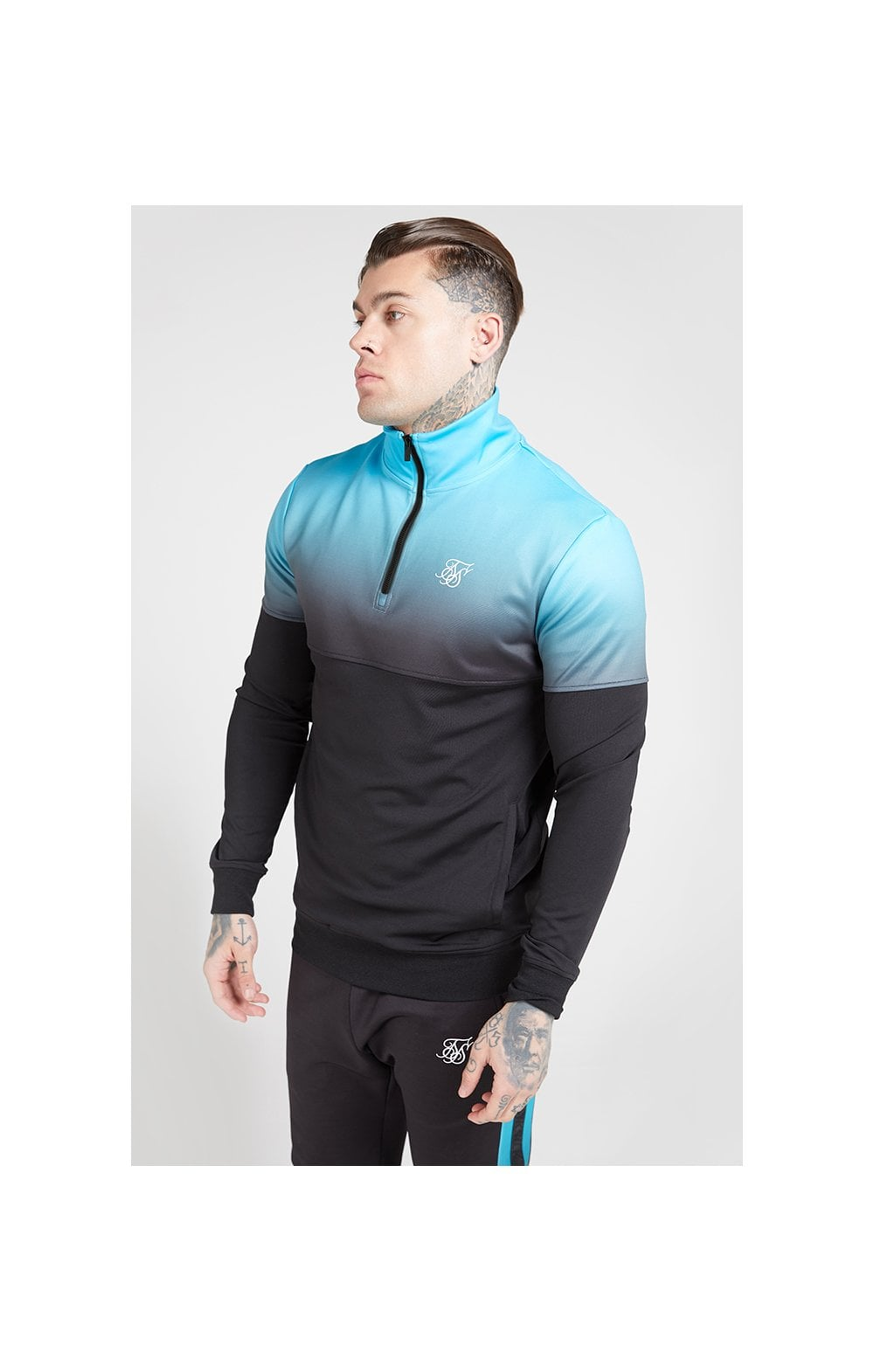 SikSilk Quarter Zip Hybrid Poly Fade Track Top - Black & Teal