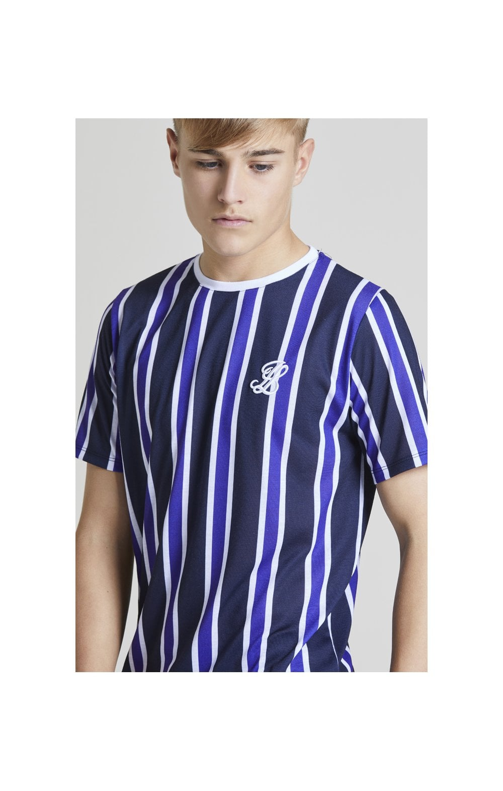 Load image into Gallery viewer, Illusive London Stripe tee - Navy, Purple & White