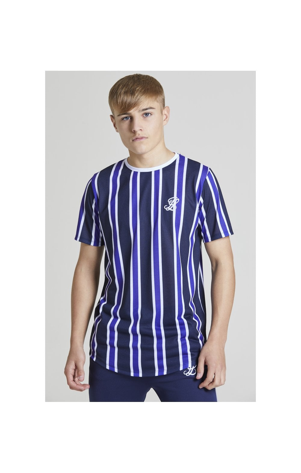 Load image into Gallery viewer, Illusive London Stripe tee - Navy, Purple & White (1)