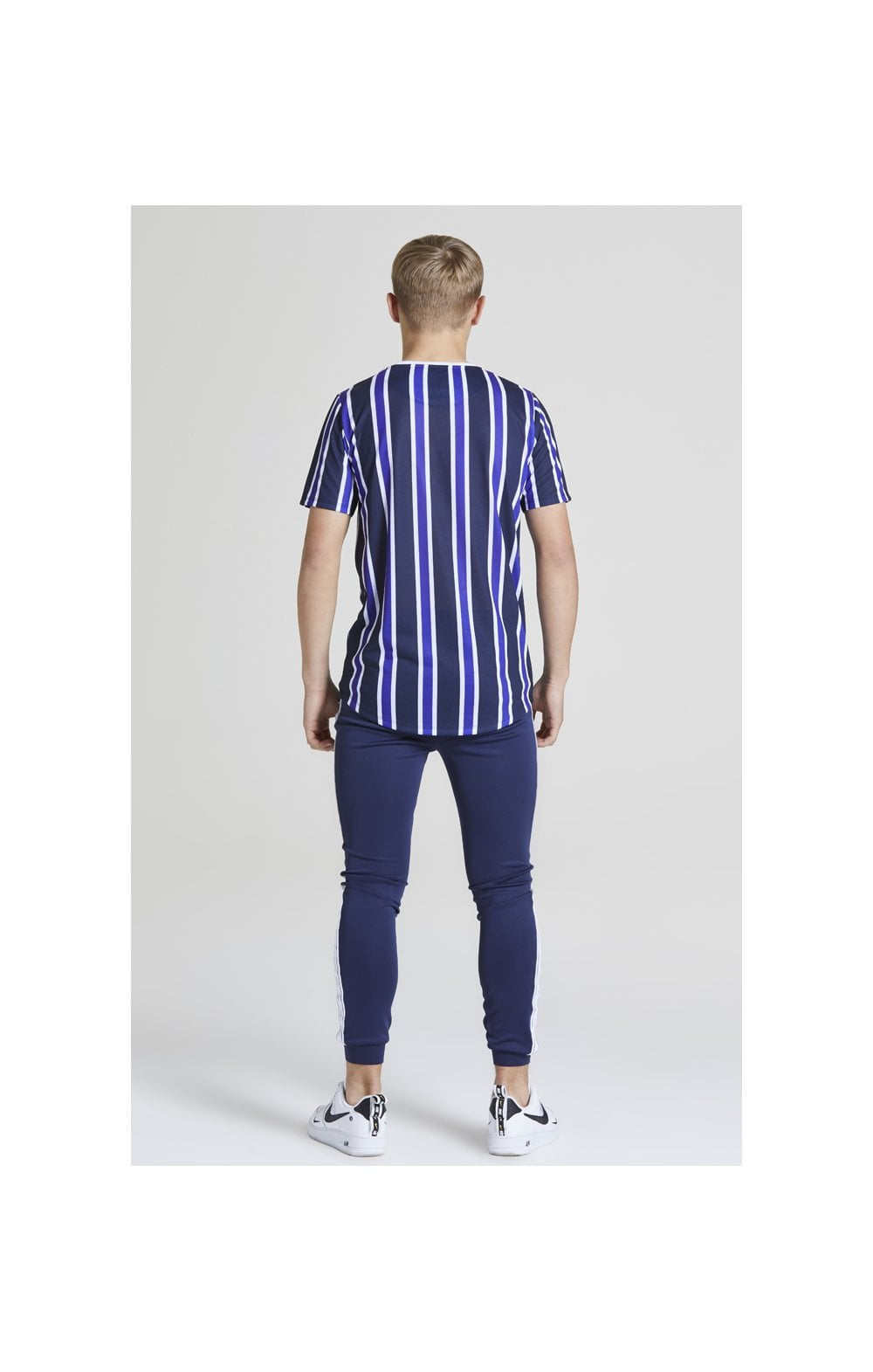 Load image into Gallery viewer, Illusive London Stripe tee - Navy, Purple & White (4)