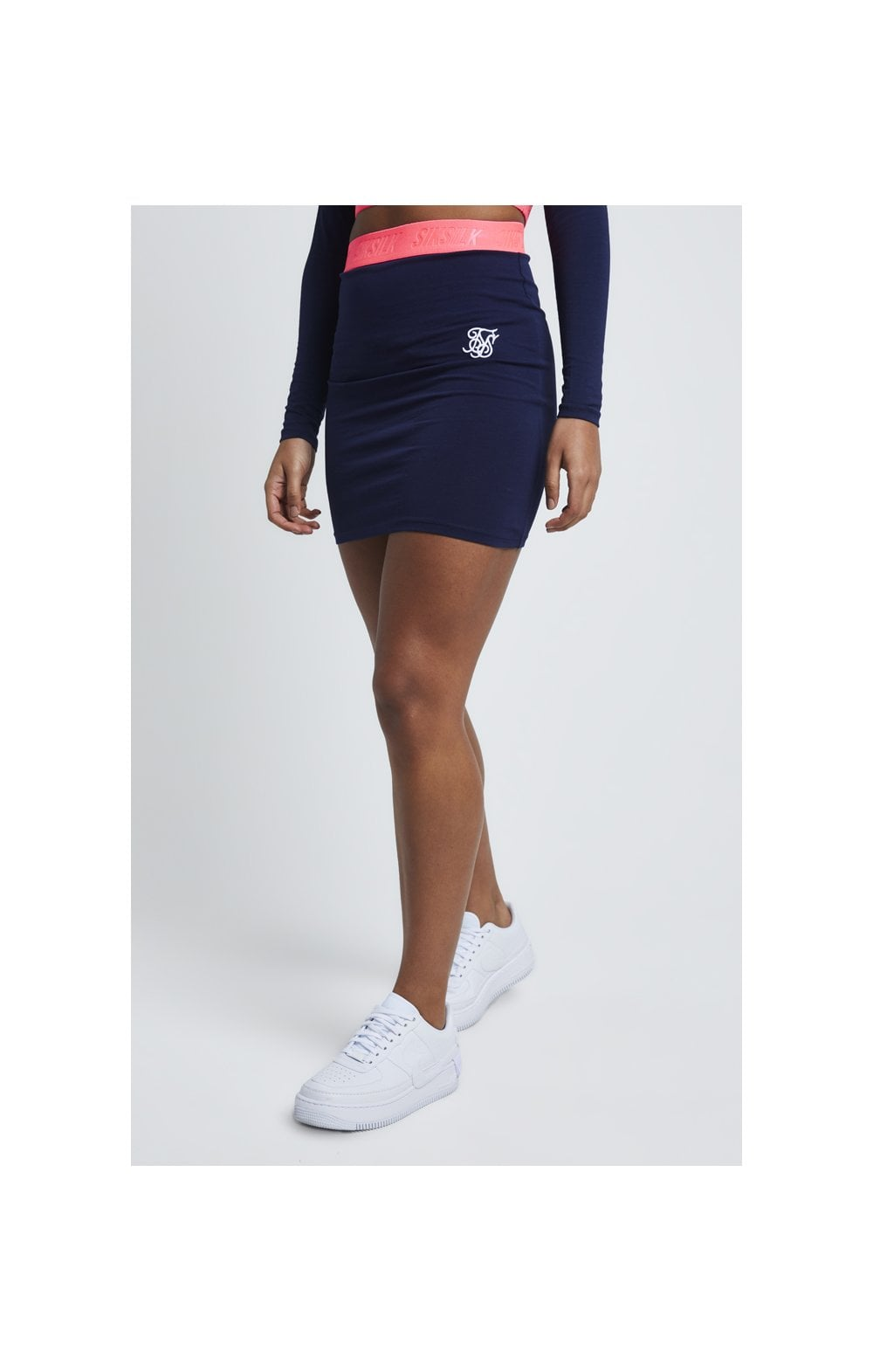 SikSillk Neon Tape Tube Skirt – Navy