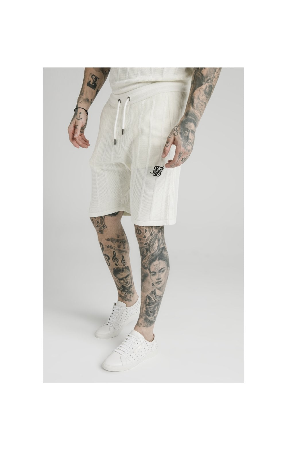 SikSilk Fitted Knit Shorts  Off White MEN SIZES BOTTOM: Extra Small 28in