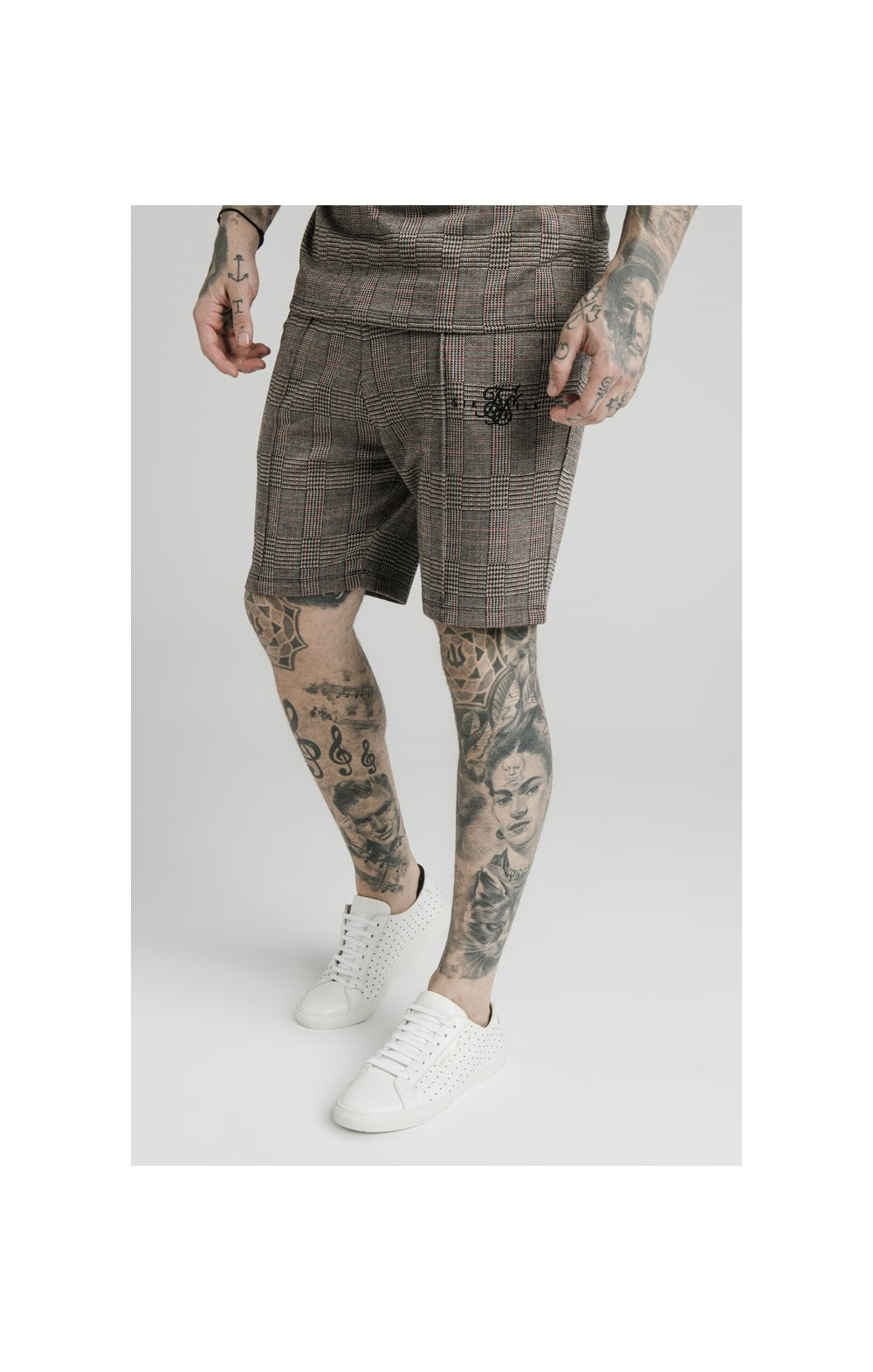 SikSilk Pleated Smart Shorts - Brown Dogtooth MEN SIZES BOTTOM: Extra Small 28in