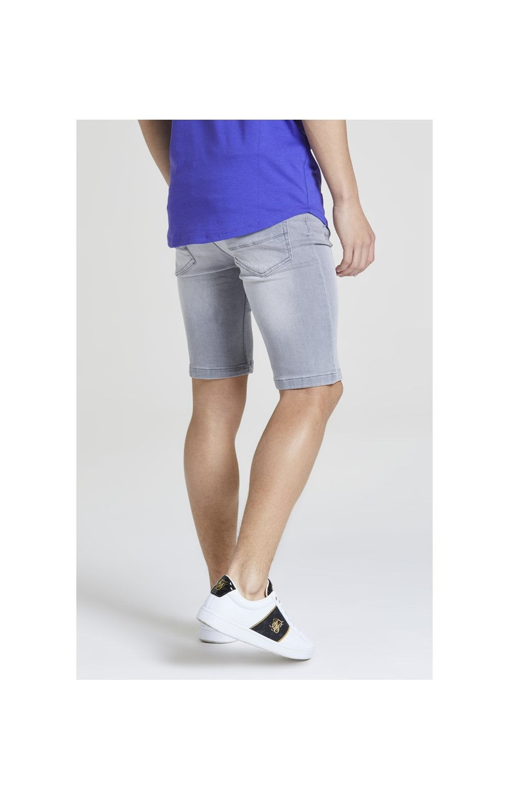 Illusive London Distressed Denim Shorts - Washed Grey (2)
