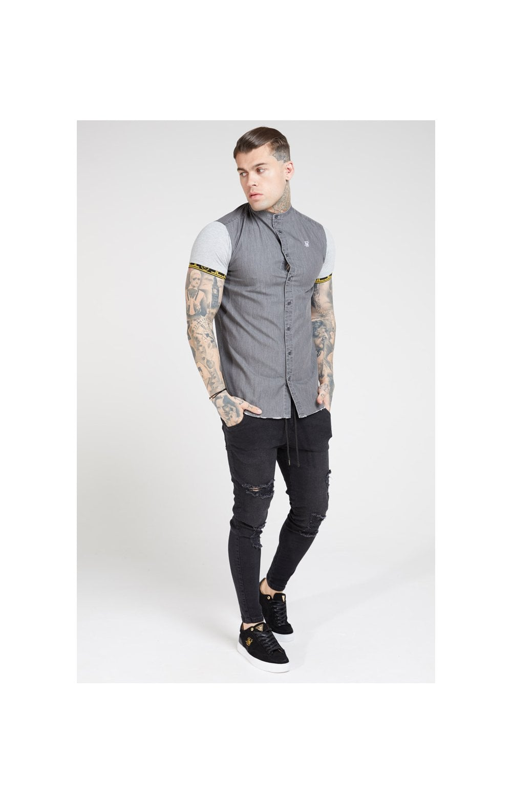 SikSilk S/S Denim Shirt – Grey (4)