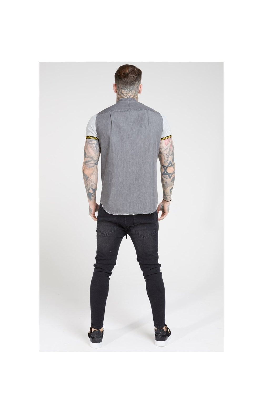 SikSilk S/S Denim Shirt – Grey (5)