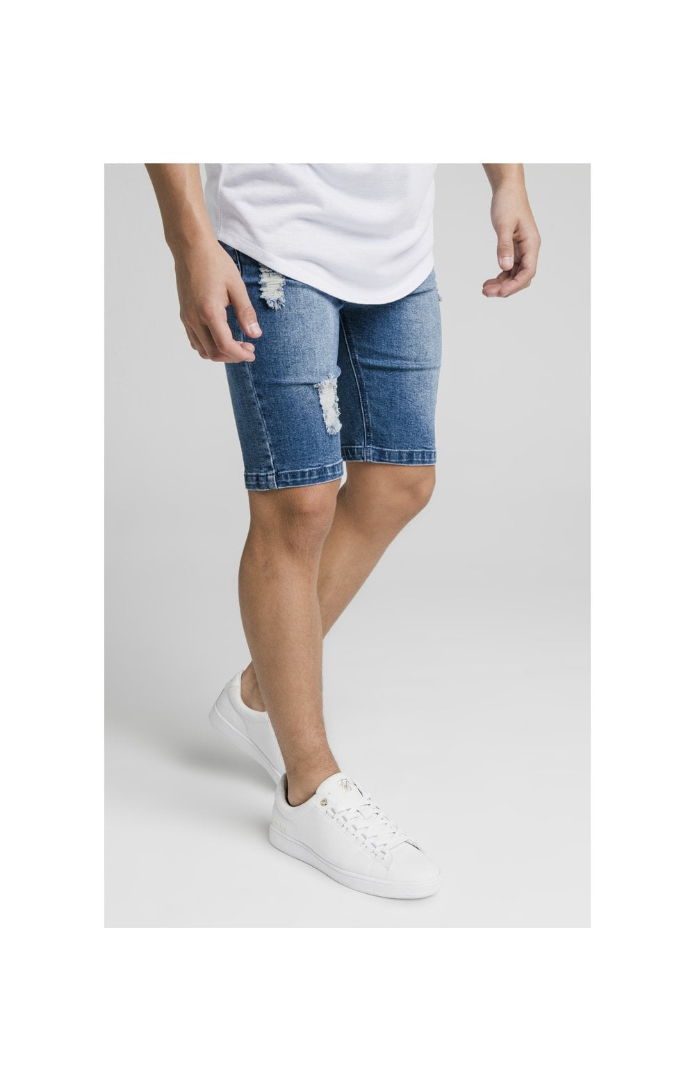 Load image into Gallery viewer, Illusive London Distressed Denim Shorts - Midstone