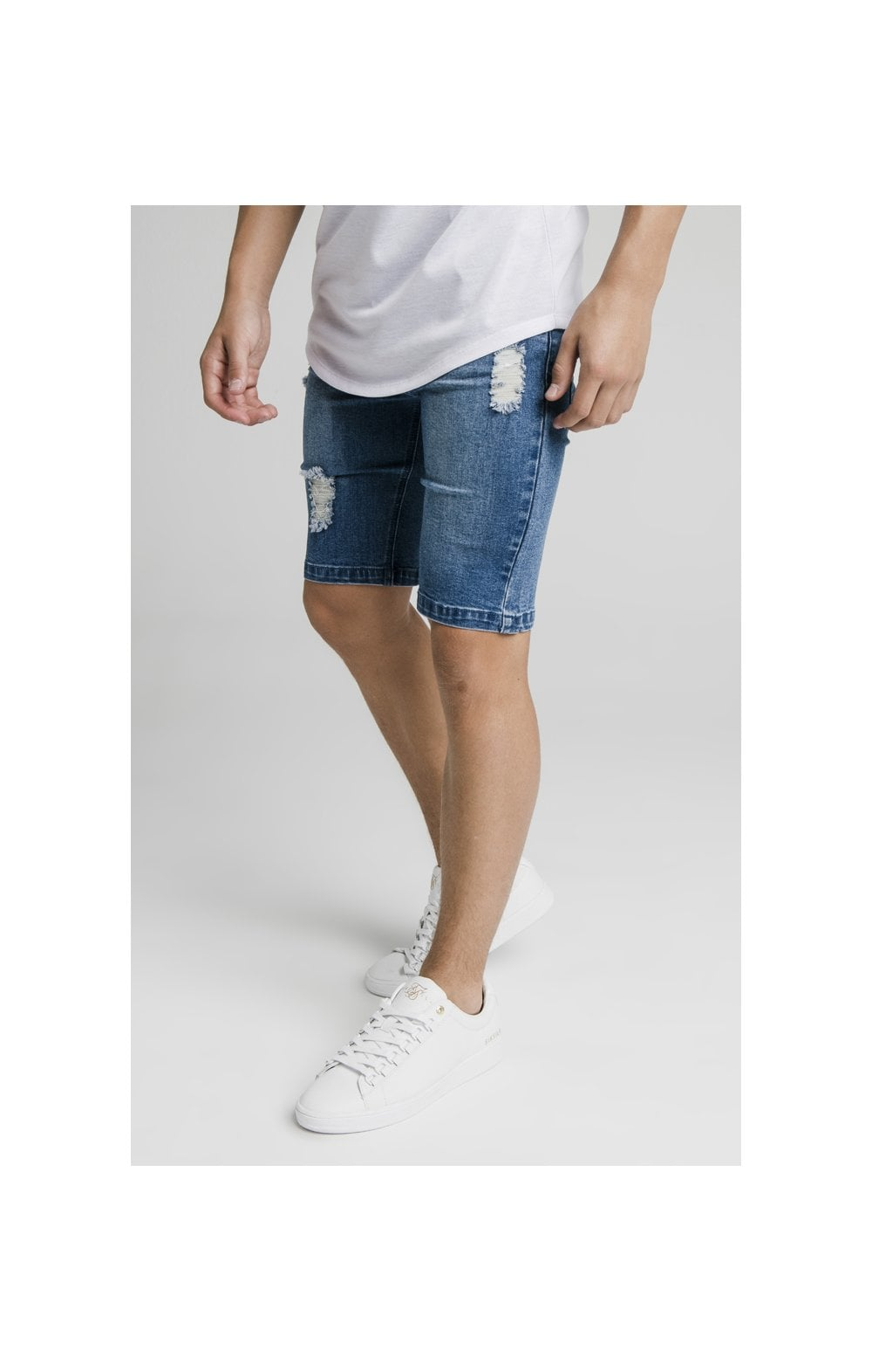 Load image into Gallery viewer, Illusive London Distressed Denim Shorts - Midstone (1)