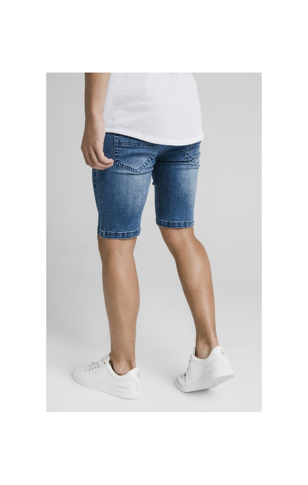 Load image into Gallery viewer, Illusive London Distressed Denim Shorts - Midstone (2)